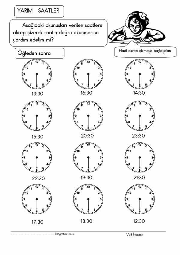 Saatler Etkinligi 2 Indir 2 Sinif Matematik 1 Donem Etkinlik