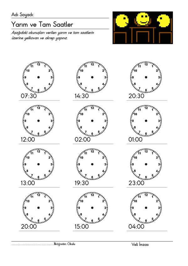 Saatler Etkinligi 3 Indir 2 Sinif Matematik 1 Donem Etkinlik