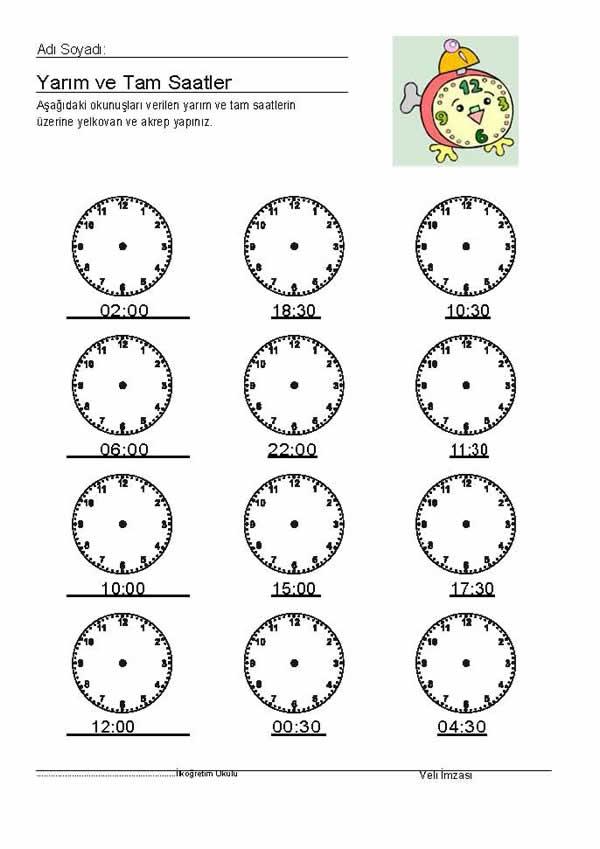 Saatler Etkinligi 4 Indir 2 Sinif Matematik 1 Donem Etkinlik